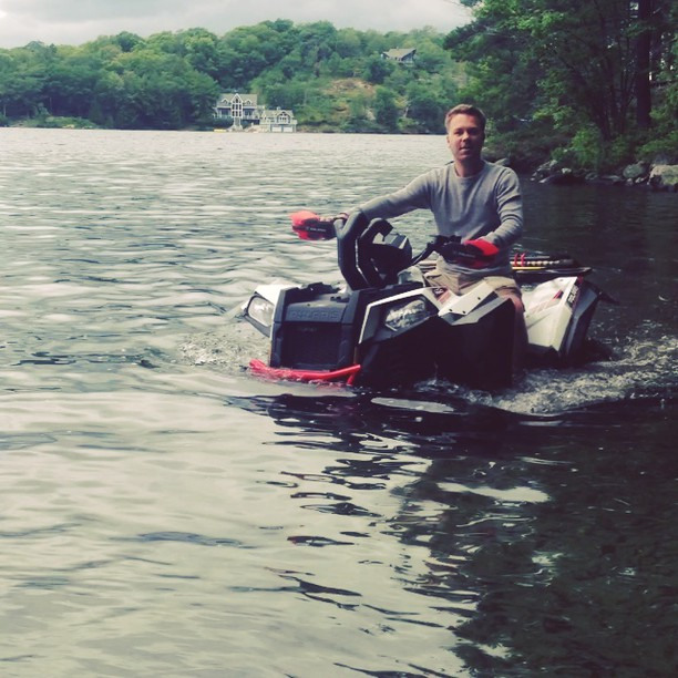 As his belt fills with water @rangerbob316 calmly rides in the lake. #swampdonkeys