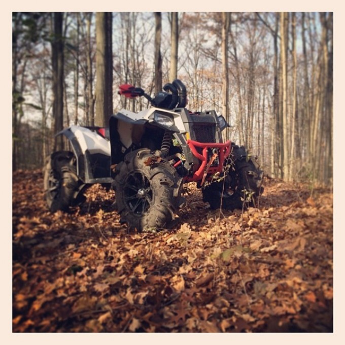 Fall ride. Forever alone. #atv #scrambler850 #swampdonkeys