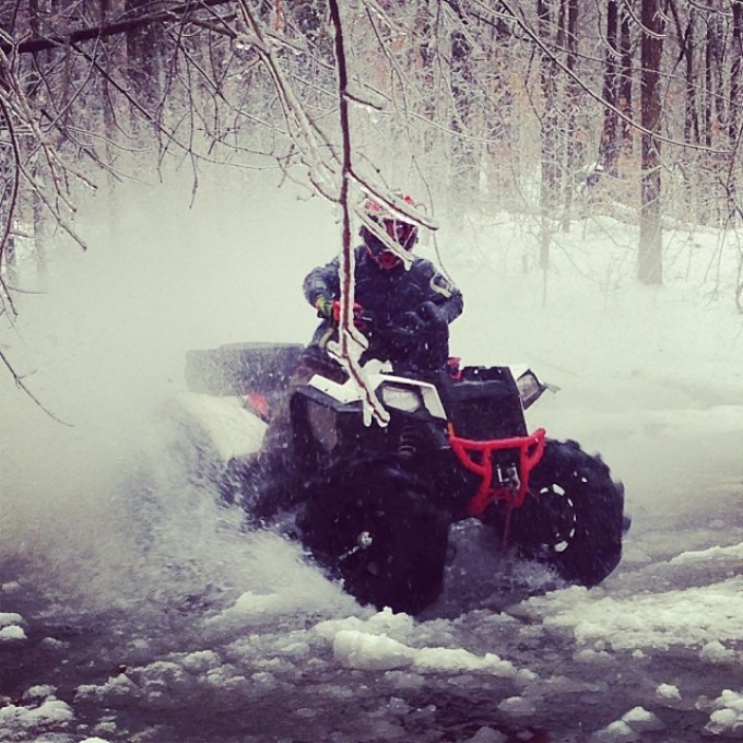 Playing on the ice #swampdonkeys #scrambler #polaris