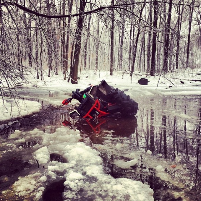 Wouldn't be a #swampdonkeys off road trip without RangerBob getting stuck in a muddy ice swamp hole