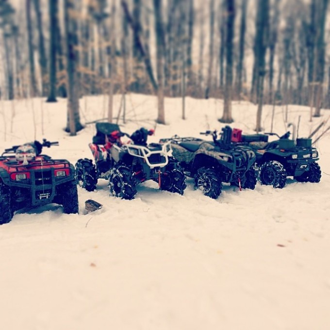 #swampdonkeys going for a winter bush ride #scrambler850 #polaris #gorillaaxel