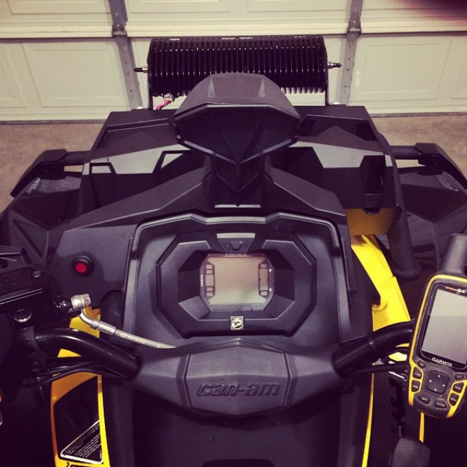 Drivers view of #rigidindustries led #lightbar install and switch install #swampdonkeys #garmin #canam #xmr