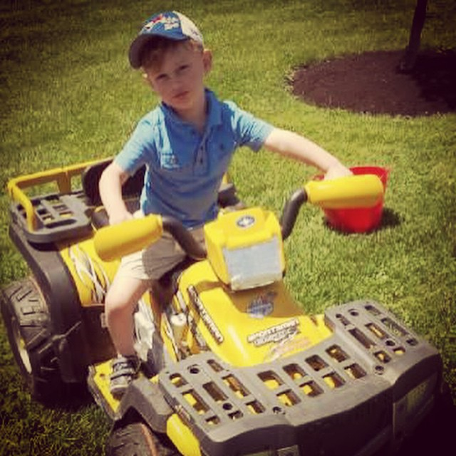 My nephew rocking the #sportsman #atv #24volt. Starting off early. Training to become a #swampdonkeys