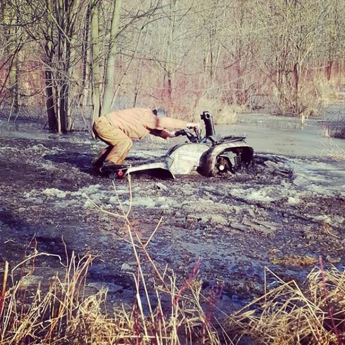 Poor #grizz fell thru the ice #SwampDonkeys Off Road Club: @webez9 @tomdrich @chriscross4653 @timmerlegrand @smithjaret