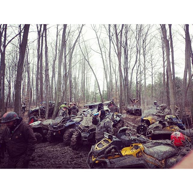 Small meeting in the middle of the bush. #team #canam There were tons of modified quads #swampdonkeys #glatv