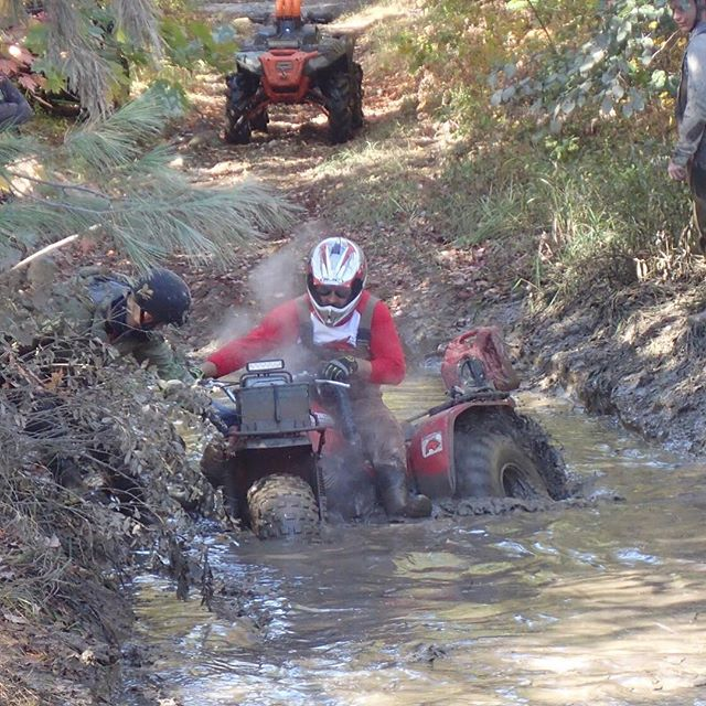 Going through some deep mud with BigRed.