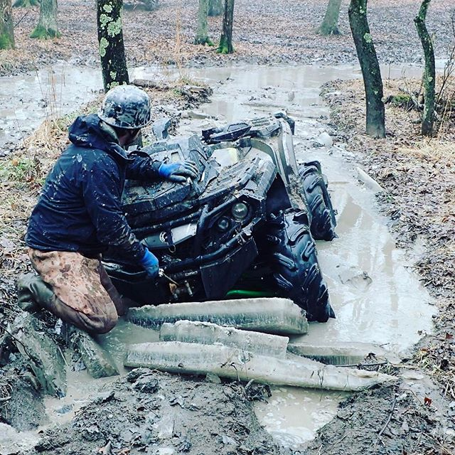 Sure the #snow is almost gone, but the #ice is still thick. @martin_g_ace getting the #winch out for the #outlander #canam #swampdonkeys