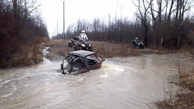 Got the tires wet in #fort #erie #terminators #swampdonkeys #superatv #river #atving