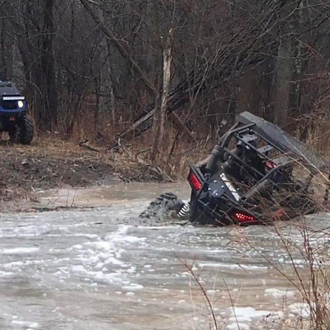 #swampdonkeys @swampdonkeygrizz found a little bump in the #river on his #polaris #rzr