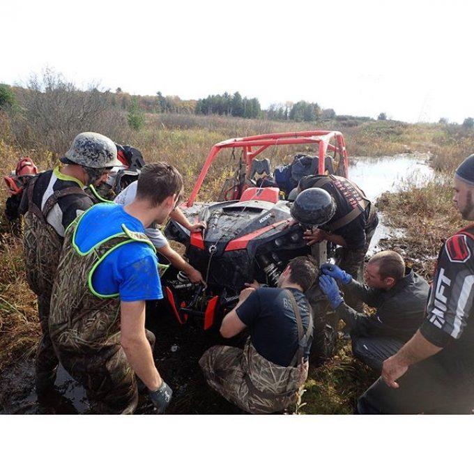 Inspecting the #damage #anyoneseenmybumper #swampdonkeys #CanAmMonsters #MaverickXMR #1000 #canam #XMR #GorillaAxle #SwampDonkeys