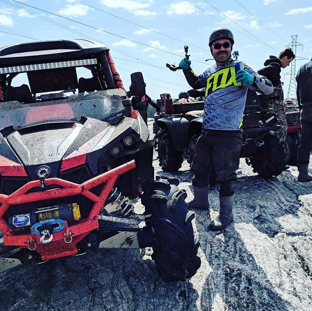 Celebrating #offroadweekend in the sun up in #Muskoka with the #swampdonkeys #maverickxmr1000 #ragefab #gopro #dirtymustache