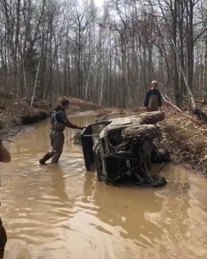 #rzr down. Danger Dave sent it. #polaris #trail #sxsflip #swampdonkeys