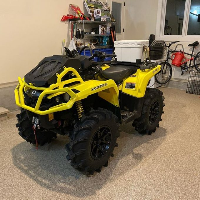 Nice thing about a new quad is there isn't much to get ready. With 40km on it. This will be its first true test. Cooler strapped to the back for Popsicles and Diet Coke. #swampdonkeys #canam #xmr