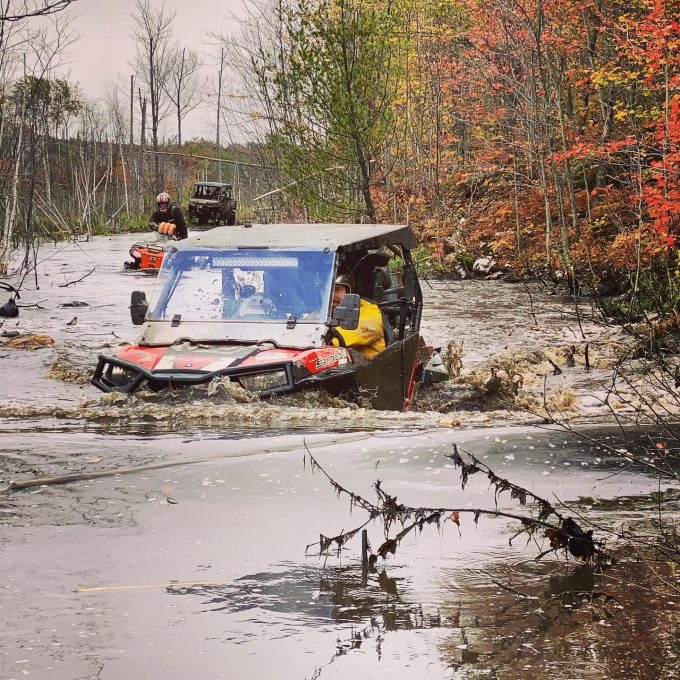 Anyone who has ridden Mactier knows this place. Photo taken 22 seconds before the sinking of the #rzr900 – may she Rest In Peace #swampdonkeys